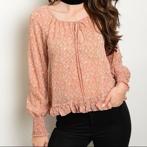 Tops - Smocked Sleeve Top | Tie Neck Blouse | Ruffle Top
